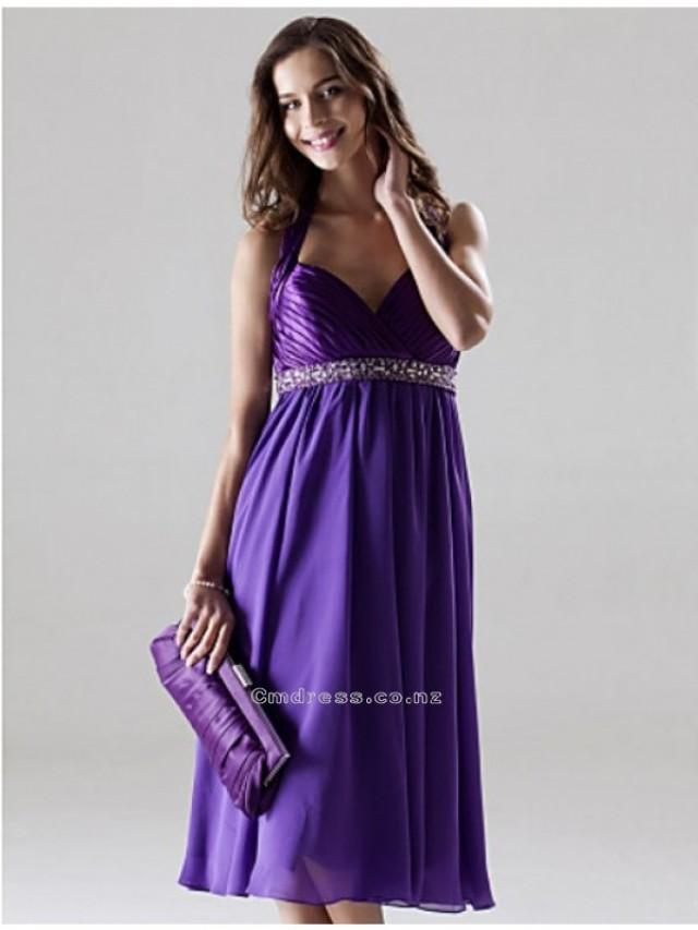 wedding photo - A-line Halter Knee-length Charmeuse And Chiffon Bridesmaid DressSKU: SAL2212-LT