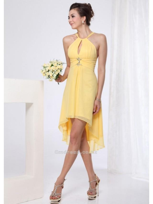 wedding photo - A-Line Halter High low length Chiffon Short Bridesmaid DressSKU: SAL00240