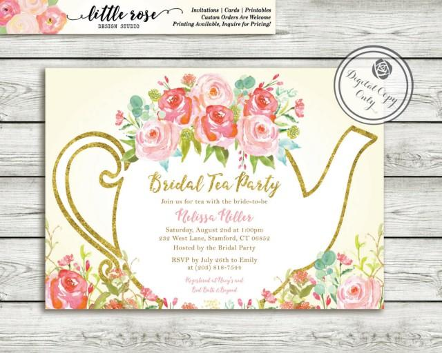 Garden Tea Party Bridal Shower Invitation High Invite Wedding Hand Painted Roses Printable Lr1051 2466092 Weddbook