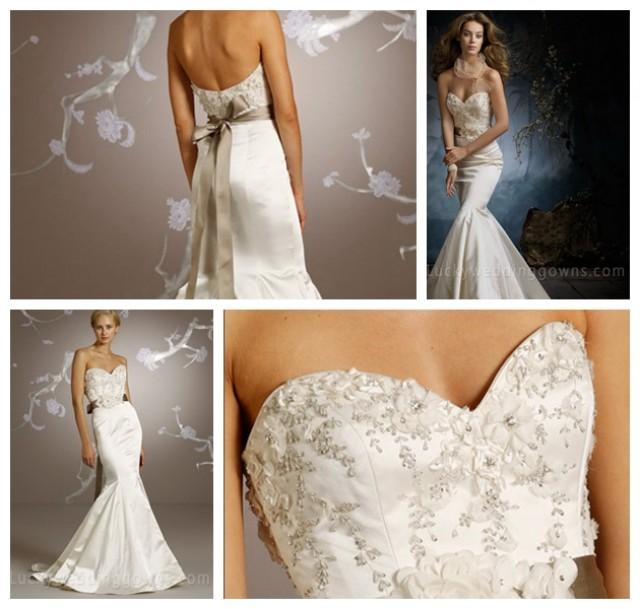 wedding photo - Ivory Satin Trumpet Embroidered Sweetheart Bridal Wedding Gown