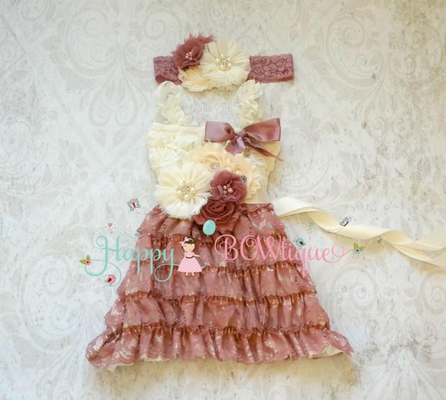 wedding photo - Flower Girl Dress, Baby Flower Girl, Vintage Rose Lace Dress set, baby Girls,ruffle dress,Girls Dress, Girl,1st Birthday,Country Rust dress,