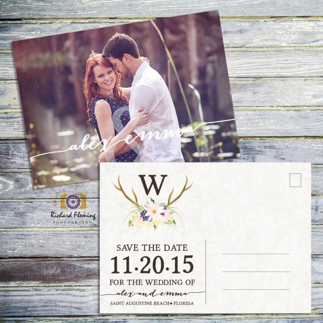wedding photo - Printable Save The Date Wedding Postcard, Rustic Save The Date Postcard, Antlers And Flowers Country Save The Date, Printable Postcard