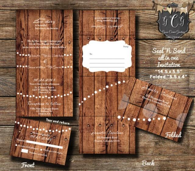 25 Rustic Wood Seal And Send Invitations,Seal And Send