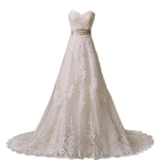 wedding photo - Ivory Lace A-Line Wedding Dress