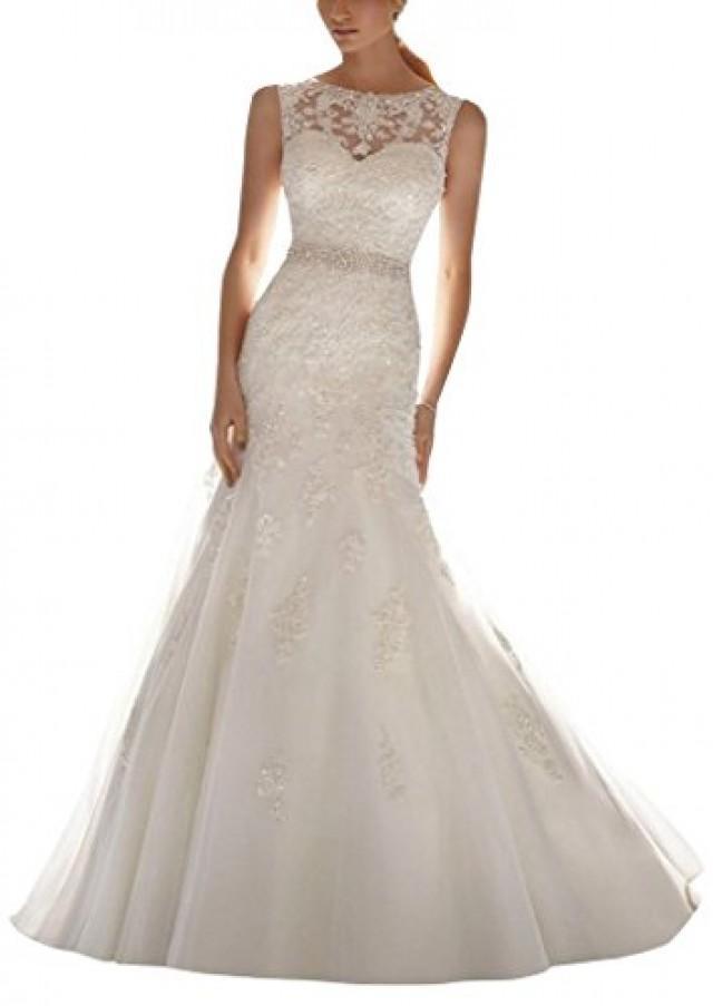 wedding photo - Sleeveless Lace Appliques Mermaid Bridal Dress