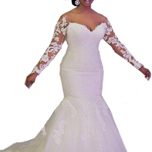 wedding photo - Sweetheart Long Sleeves Lace Mermaid Wedding Dress