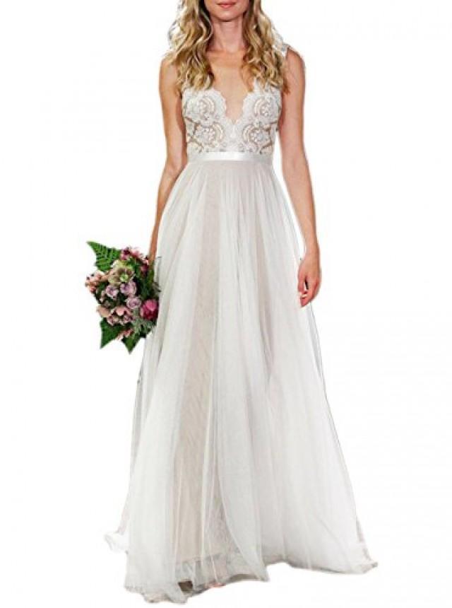 wedding photo - Ivory V-neck A-line Lace Tulle Beach Wedding Dress