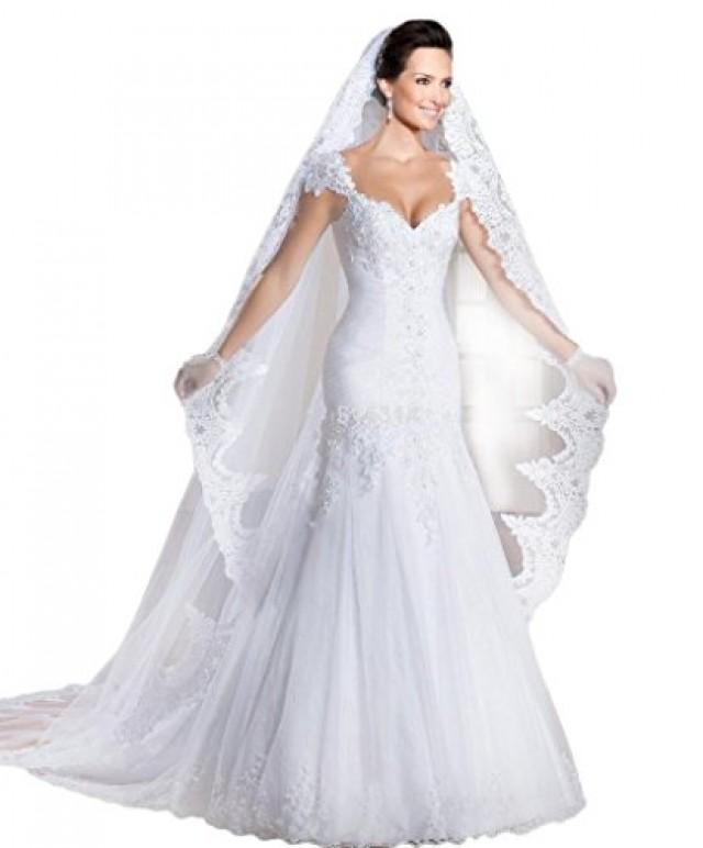 wedding photo - White Lace Trailing Mermaid Wedding Dress with Veil and Gloves