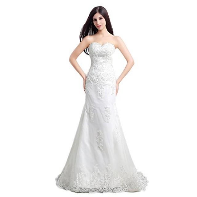 wedding photo - White Sweetheart Lace Applique Sweep Train Mermaid Bridal Gown