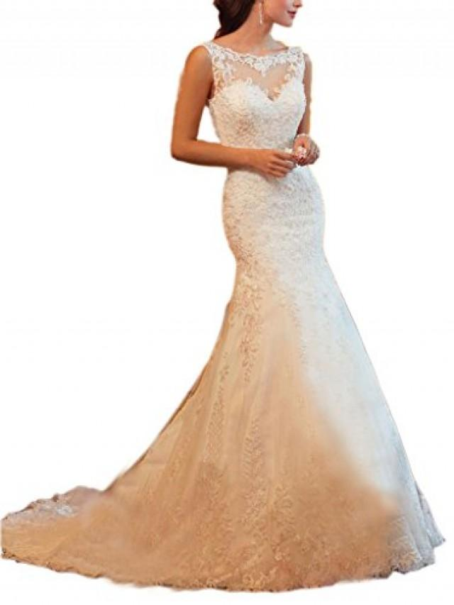 wedding photo - Ivory V-back Court Train Lace Mermaid Wedding Dress