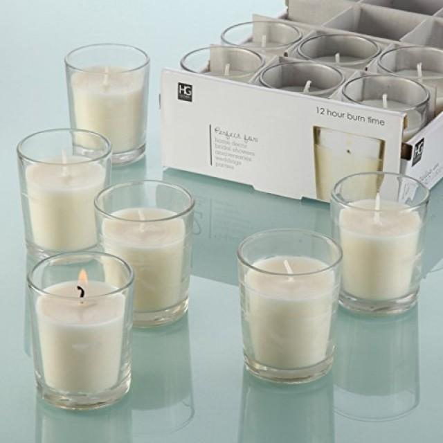 wedding photo - 48 Unscented Glass Filled Votive Candles
