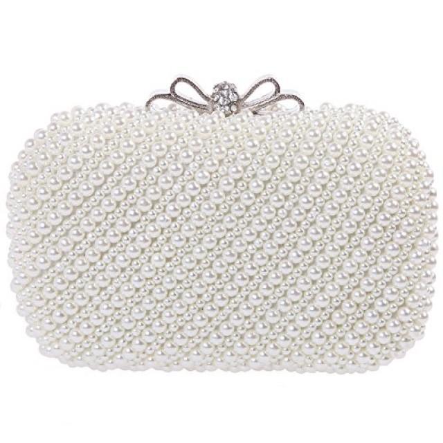 wedding photo - Bling Bow Wedding Pearl Clutch Bag