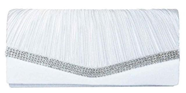 wedding photo - Pure White Pleated Satin Wedding Clutch Purse With Rhinestones