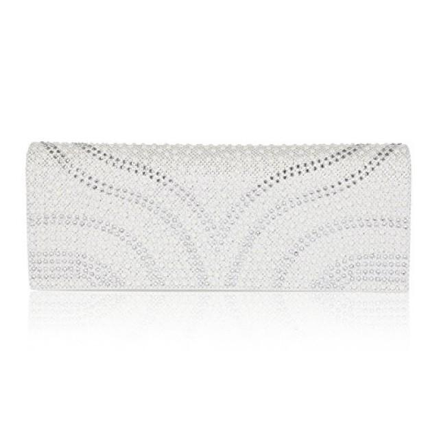 wedding photo - Patterned Pearl Flap-Over Dazzling Clutch Evening Bag