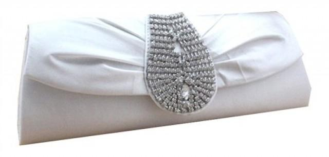 wedding photo - Satin Silk Rhinestone Studded Wedding Clutch Purse