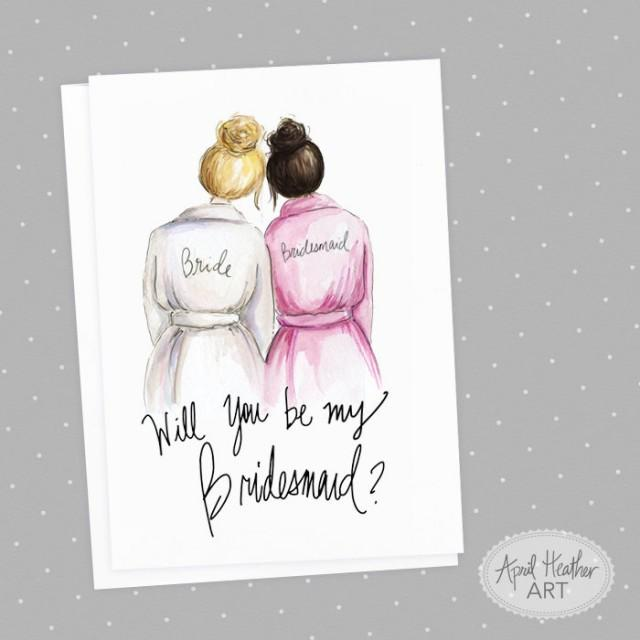 wedding photo - Bridesmaid  PDF Download printable cards, blonde bride, dark brunette bridesmaid Will you be my bridesmaid invitation