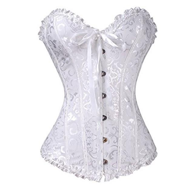 wedding photo - White Overbust Satin Lace Waist Boned Corset Bustier with G-string