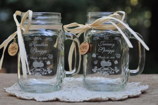 Fall Wedding Favors Pumpkin Mr And Mrs Mason Jars Personalized Engraved With Matching Cherrywood Charms 2467756 Weddbook