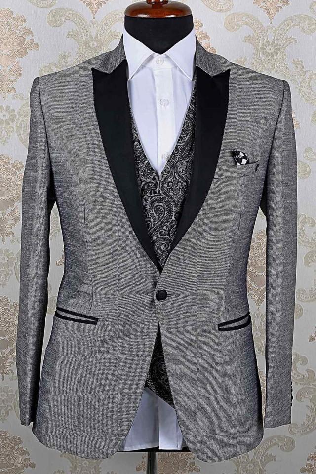 wedding photo - Grey & black italian divine slim fit suit with peak lapel