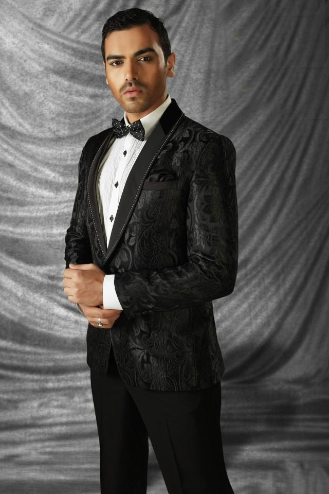 wedding photo - Black imported mesmeric prince suit with shawl lapel