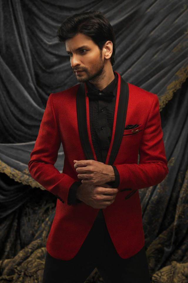 wedding photo - Maroon jute debonair prince suit with shawl lapel