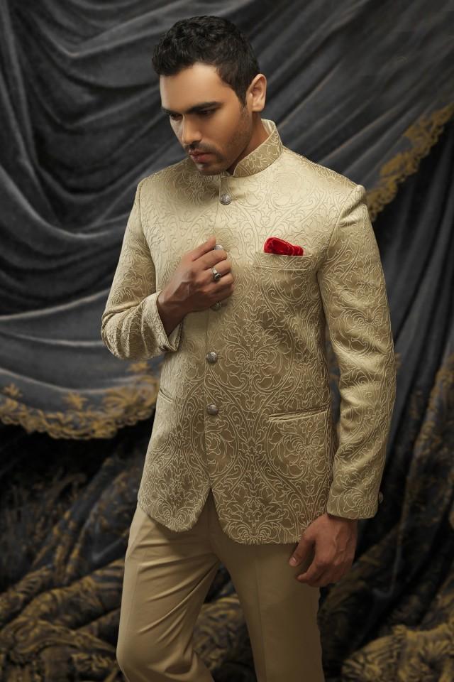 wedding photo - Cream satin dashing prince suit with standing collar
