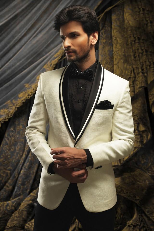 wedding photo - off white resplendent price suit with shawl lapel