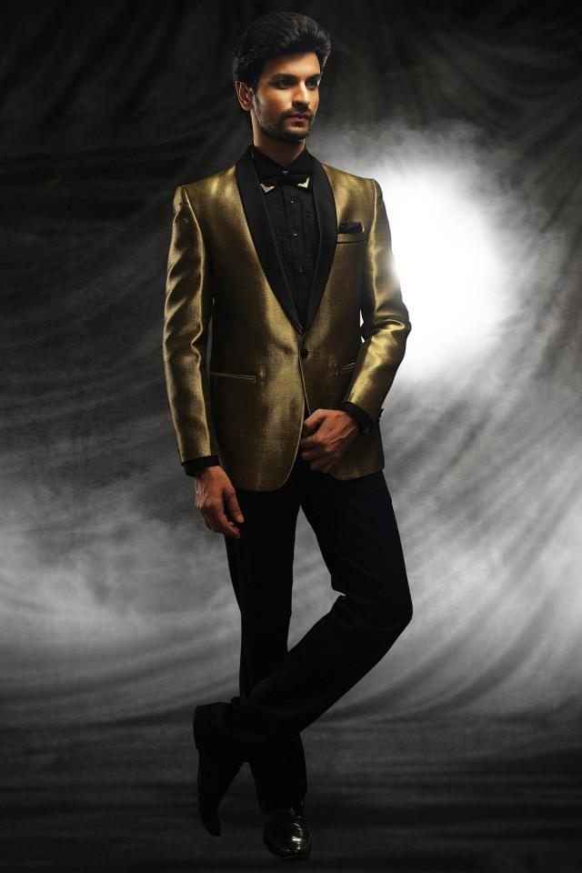 wedding photo - Gold satin velvet classy price suit with shawl lapel