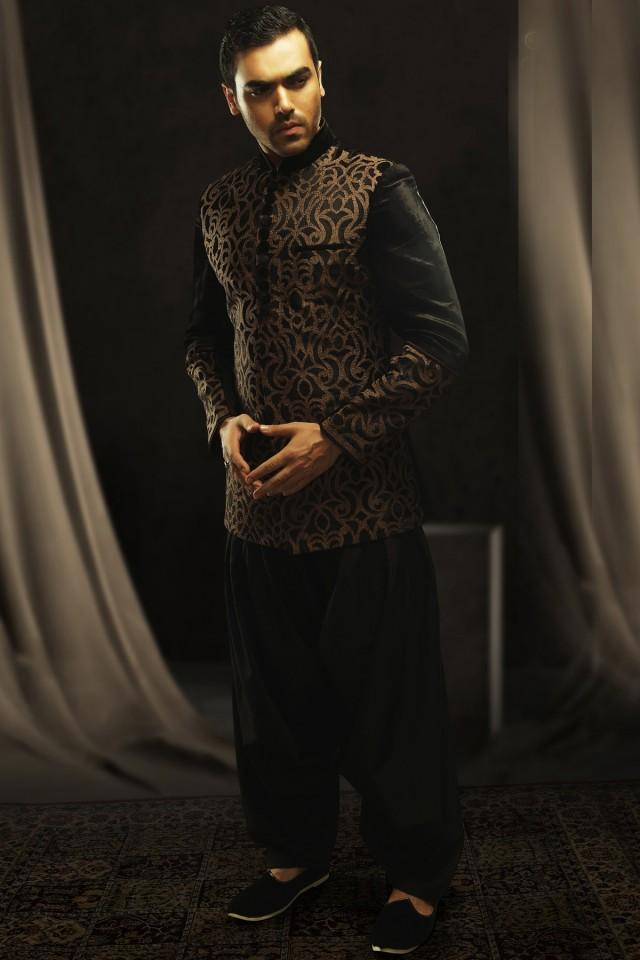 wedding photo - Black & gold velvet indo western ravishing suit