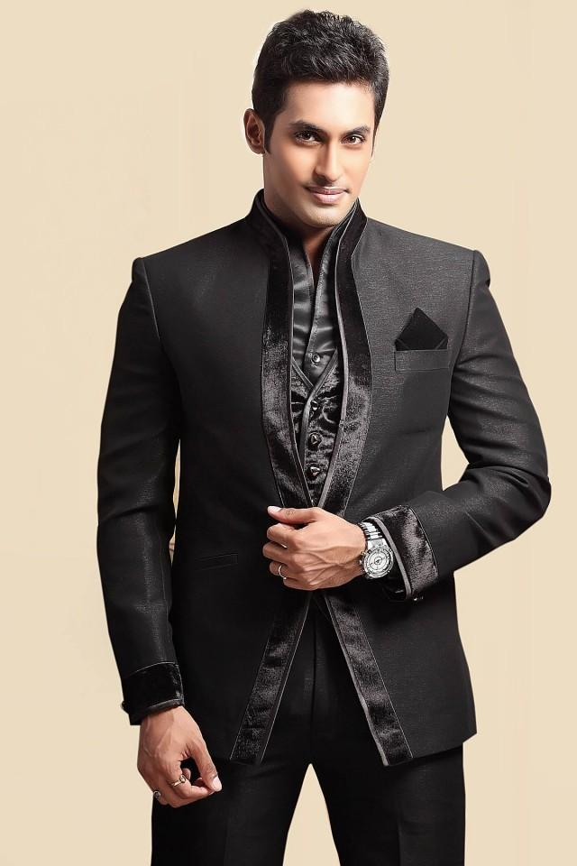 wedding photo - Black linen Slim Fit Suit with chinese collar