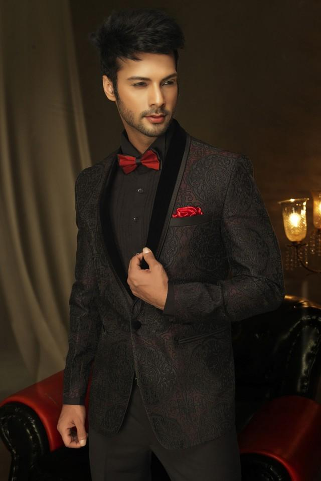 wedding photo - Wine pure silk fascinating prince suit with shawl lapel