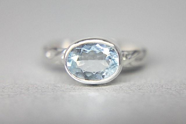 Aquamarine Silver Braided Ring Light Blue Gemstone