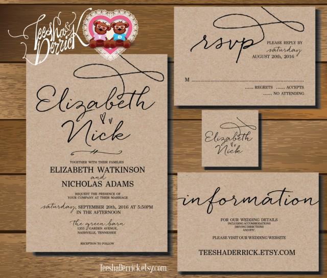 Custom Printable Wedding Invitation Suite (w0210 ...