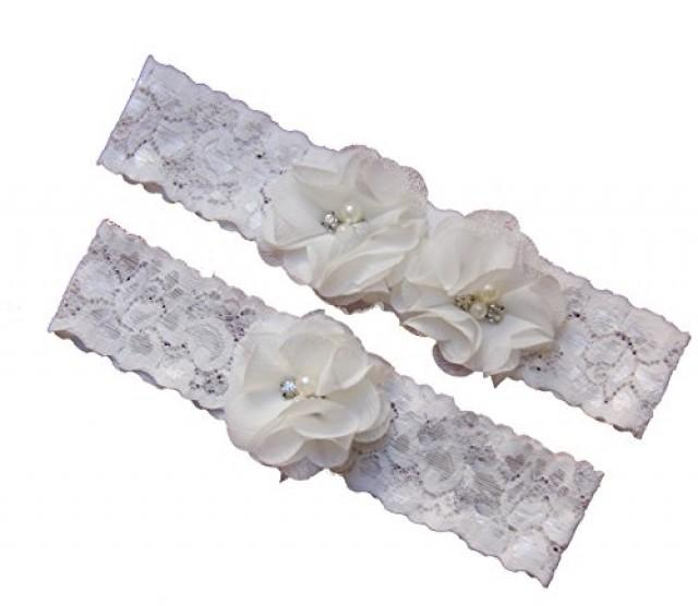wedding photo - Ivory and White Wedding Garter Set