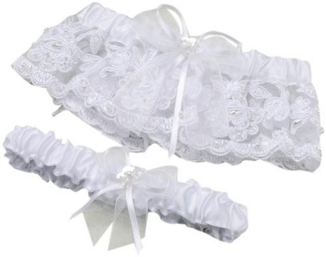wedding photo - Lace Pearl Garter Set