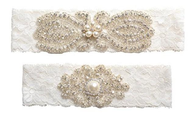 wedding photo - Rhinestones Lace Wedding Garter Belt Set