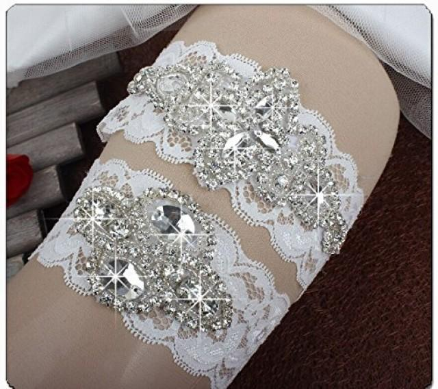 wedding photo - Bridal Lace Garter Set with Rhinestone