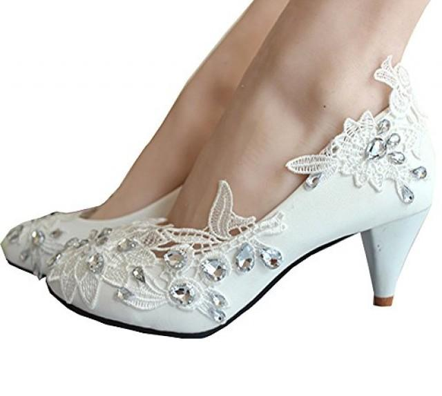 wedding photo - Kitten Heel Lace Pearls Glitter Wedding Shoes