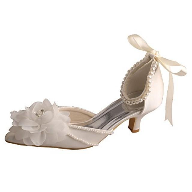 wedding photo - Pointed Toe Flower Low Heel Bridal Shoes