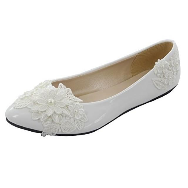 wedding photo - White PU Leather Lace Wedding Flat Shoes