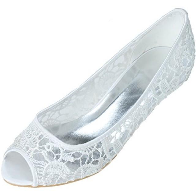 wedding photo - Elegant Peep Toe Lace Low Heel Bridal Shoes