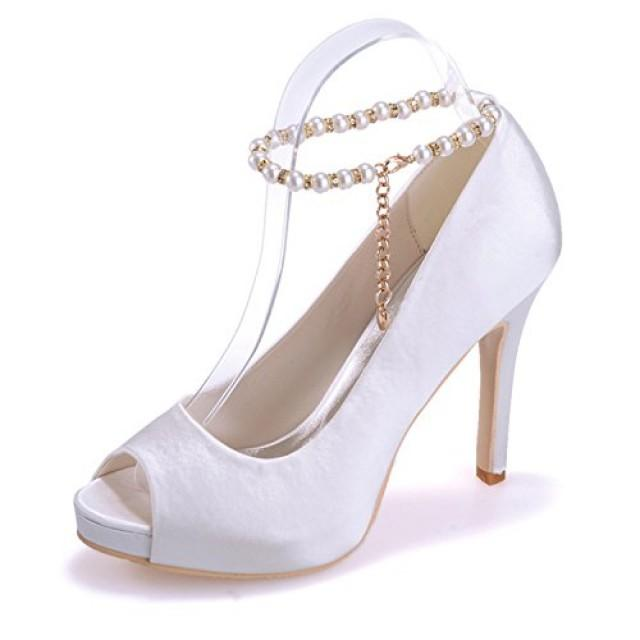 wedding photo - Satin Heels With Straps