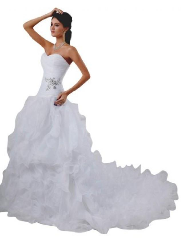 wedding photo - Organza Beaded Sweetheart Lace Up Wedding Dress