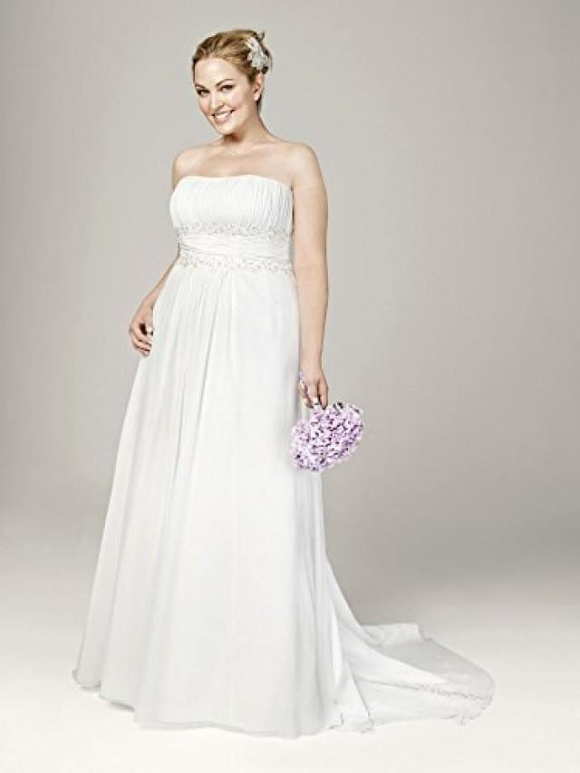 wedding photo - Chiffon A-line with Beaded Lace on Empire Waist Wedding Dress