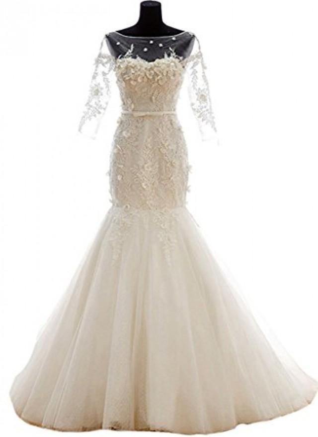 wedding photo - Sweetheat Mermaid Long Sleeves Lace Wedding Dress