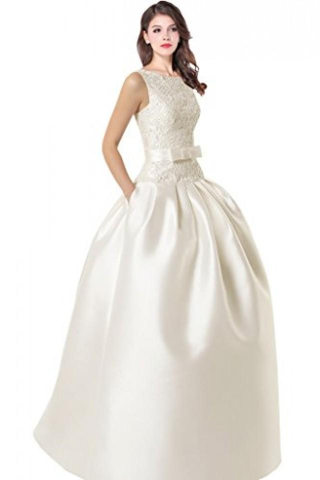 wedding photo - Satin Beaded Back Open Princess Wedding Dress
