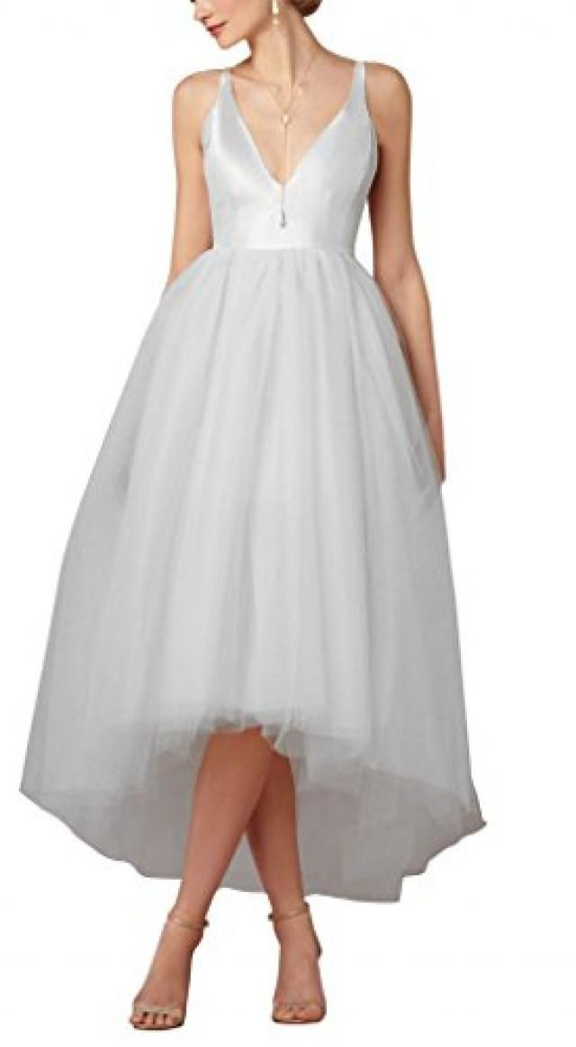 wedding photo - Hi-Low Empire V Neck Tulle Wedding Dress