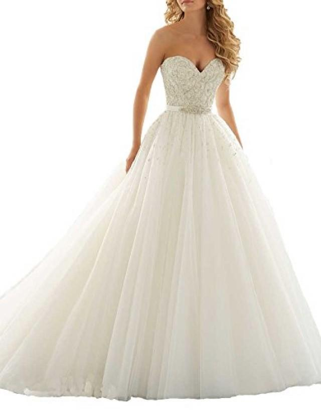 wedding photo - Sweetheart Crystal Pearls Ball Gown Wedding Dress