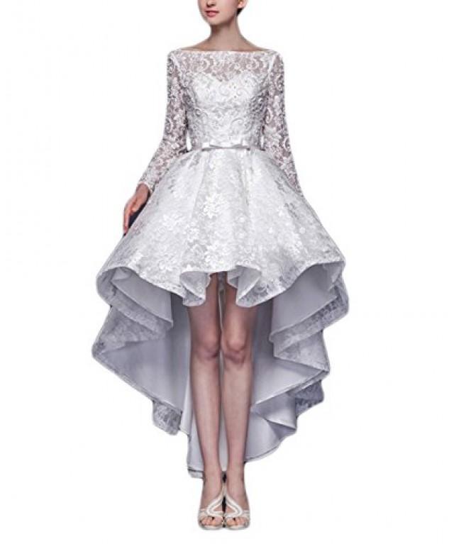 wedding photo - Hi-low Long Sleeves Lace Bow Sash White Wedding Dress