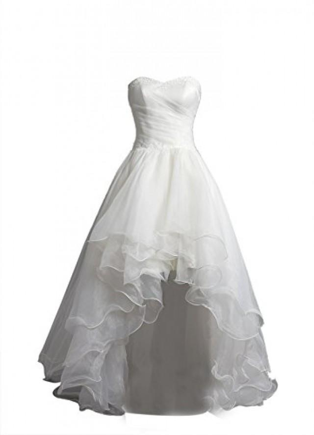 wedding photo - Hi Low Organza Strapless Bridal Gown